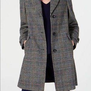 Vince Camuto Single-Breasted Grey Plaid Car Coat